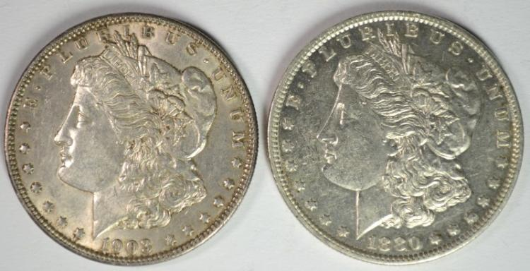 1880-O, & 1903 MORGAN DOLLARS AU/BU BOTH BETTER DATES