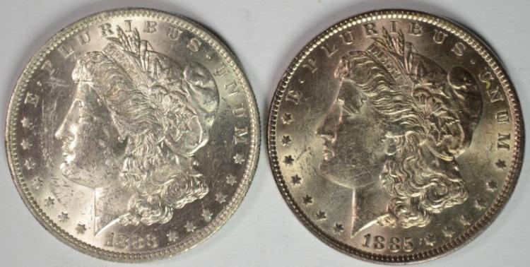 1883-O, & 1885 MORGAN DOLLAR CH BU