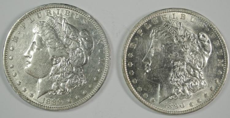 1889-O XF & 1890-O AU+ MORGAN SILVER DOLLARS