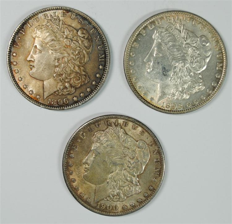 1896, 1898 & 1900 MORGAN SILVER DOLLARS, AU