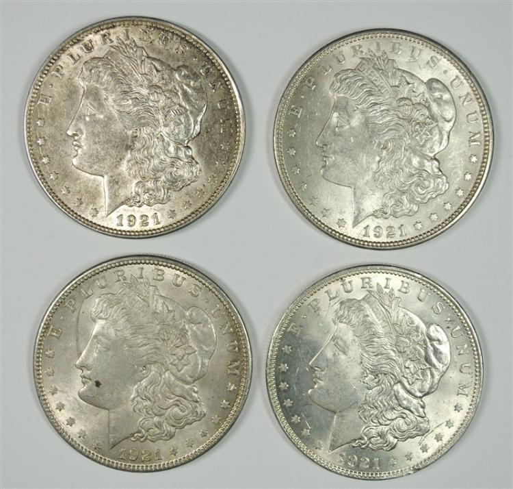 4 - 1921 MORGAN SILVER DOLLARS CHOICE BU