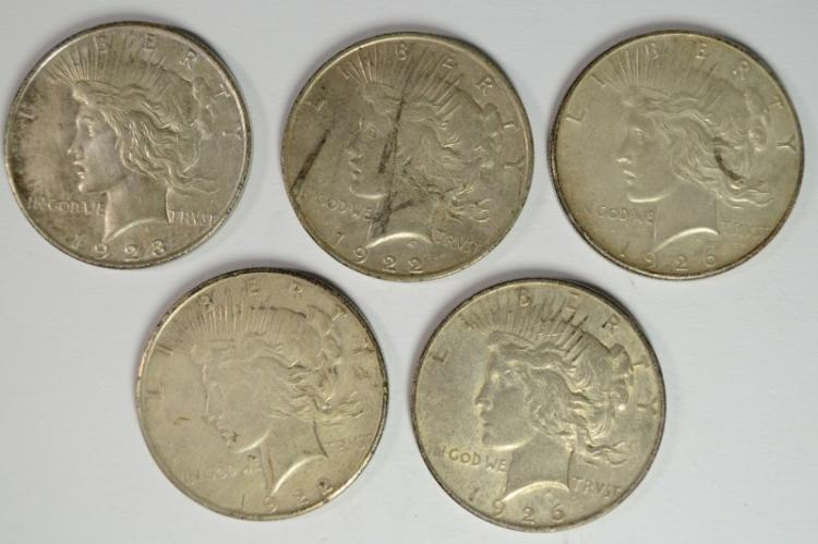 PEACE DOLLARS: 1922-S VF, 1922-D, 1923-D & 1926-D XF  AND 1926-S AU
