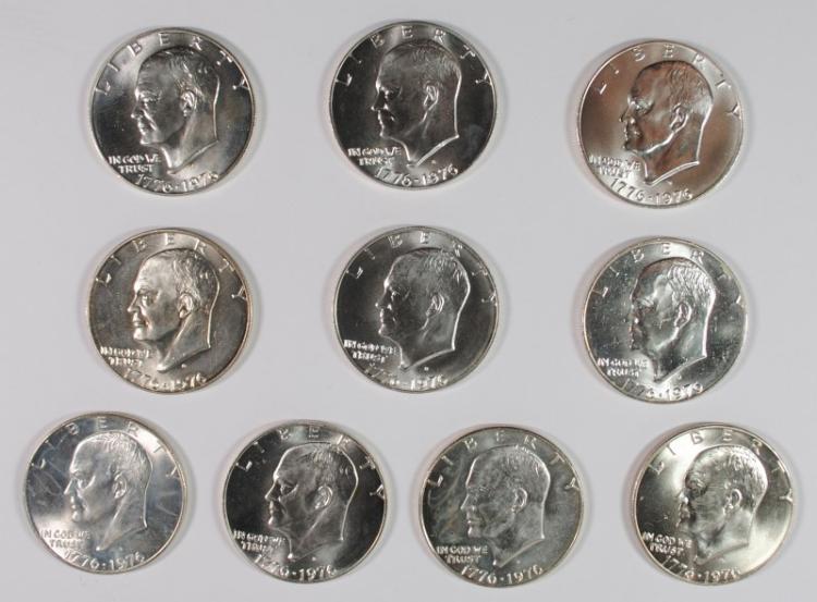 ( 10 ) BU 1976 SILVER BICENTENNIAL; EISENHOWER DOLLARS