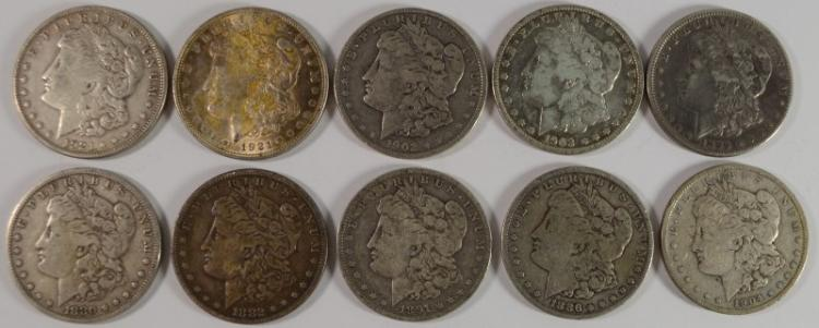 10 - DIFFERENT NICE CIRCULATED MORGAN SILVER DOLLARS - ALL DIFFERENT!