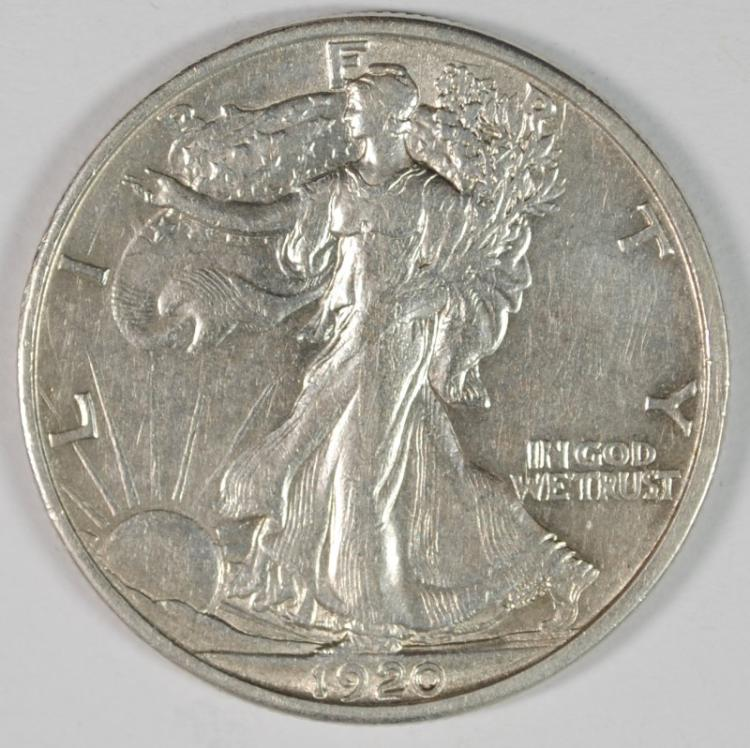 1920-S WALKING LIBERTY HALF DOLLAR, AU  KEY DATE!