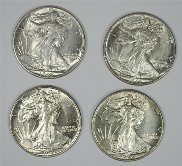( 2 ) 1943 & ( 2 ) 1944 WALKING LIBERTY HALF DOLLARS, CHOICE BU