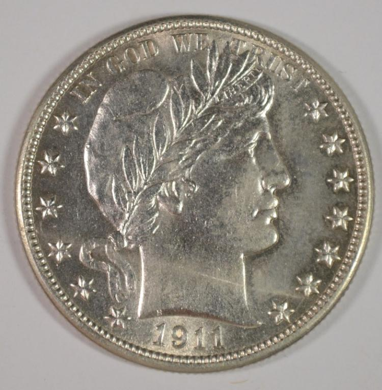 1911-D BARBER HALF DOLLAR HAS GEM BU LOOK BUT SMALL LIGHT MARK ON OBVERSE