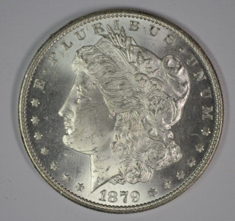 1879-S MORGAN SILVER DOLLAR, CHOICE BU