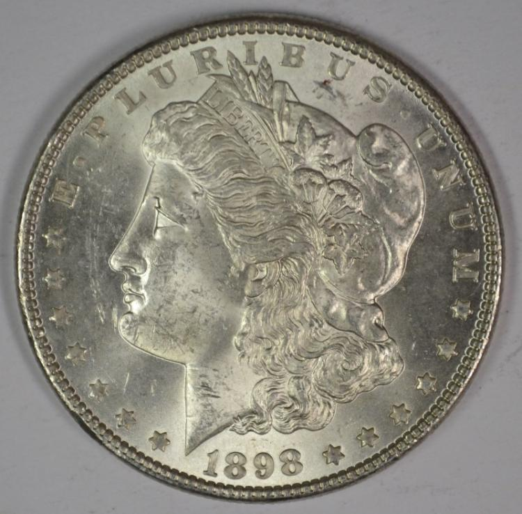 1898 MORGAN SILVER DOLLAR, CHOICE BU