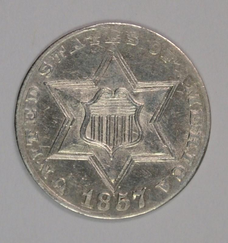 1857 3 CENT SILVER CH BU