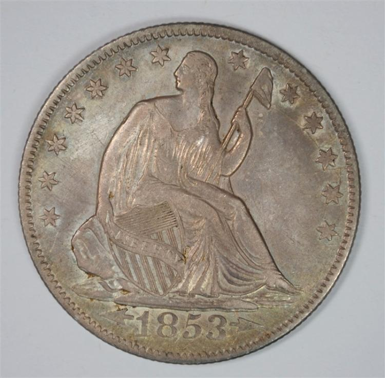 1853-O ARROWS & RAYS SEATED HALF DOLLAR  AU+