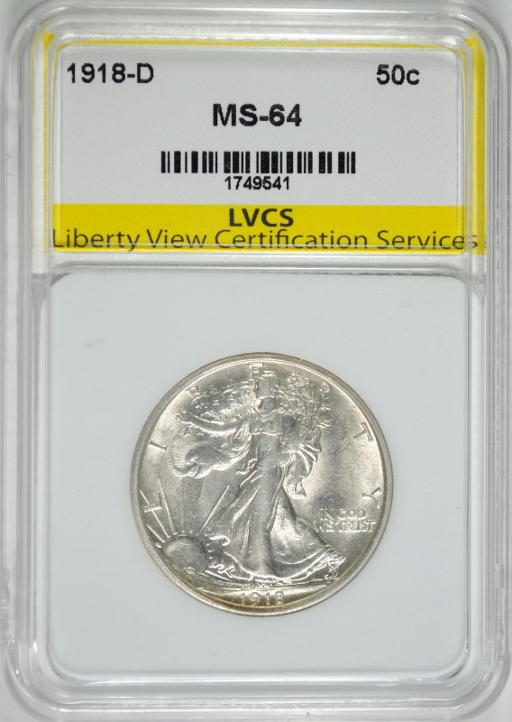 1918-D WALKING LIBERTY HALF DOLLAR LVCS CH BU RARE