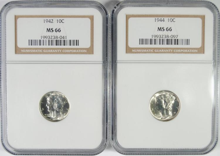 1942 & 1944 MERCURY DIMES, NGC MS66