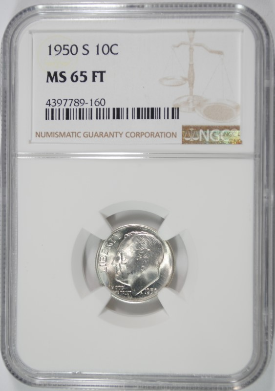 1950-S ROOSEVELT DIME NGC MS-65 FT
