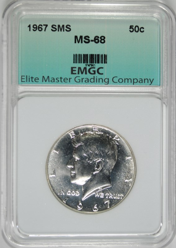 1967 SMS KENNEDY HALF DOLLAR EMGC SUPERB GEM+ BU