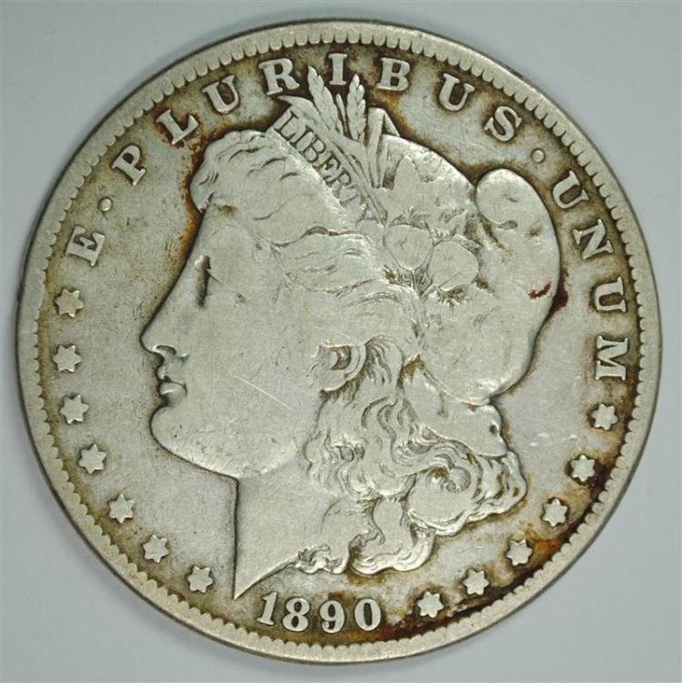 1890-CC MORGAN SILVER DOLLAR, VF