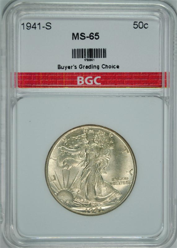 1941-S WALKING LIBERTY HALF DOLLAR, BGC GEM BU  SCARCE DATE