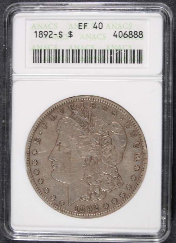 1892-S MORGAN SILVER DOLLAR, ANACS EF-40 100% ORIGINAL