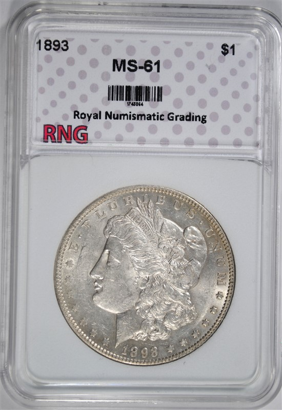 1893 MORGAN SILVER DOLLAR, RNG CHOICE UNC KEY COIN WHITE
