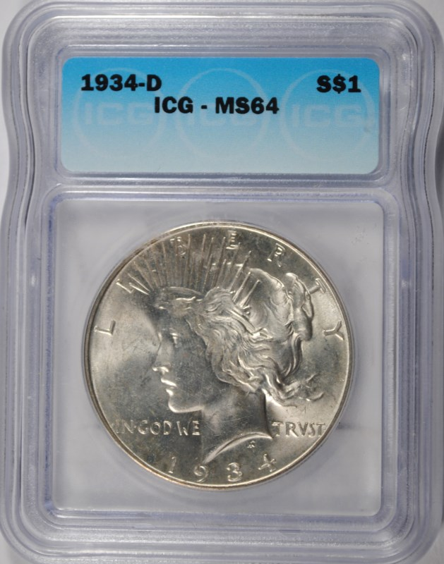 1934-D PEACE SILVER DOLLAR, ICG MS-64