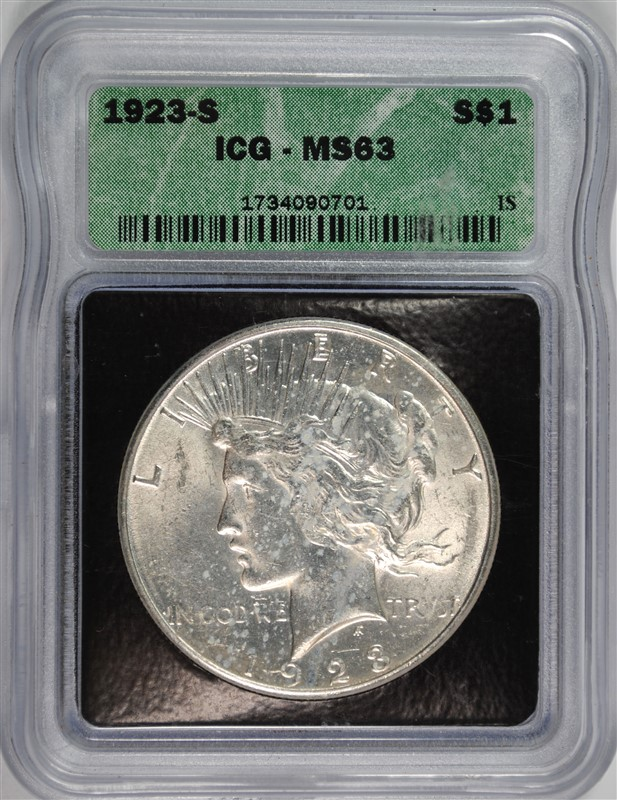 1923-S PEACE SILVER DOLLAR, ICG MS-63
