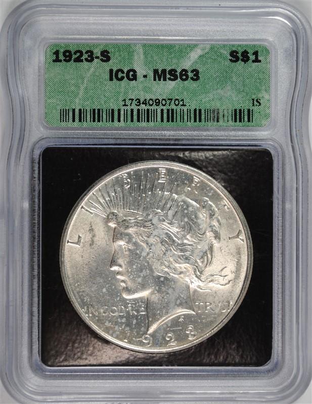 1923-S PEACE SILVER DOLLAR, ICG MS-63