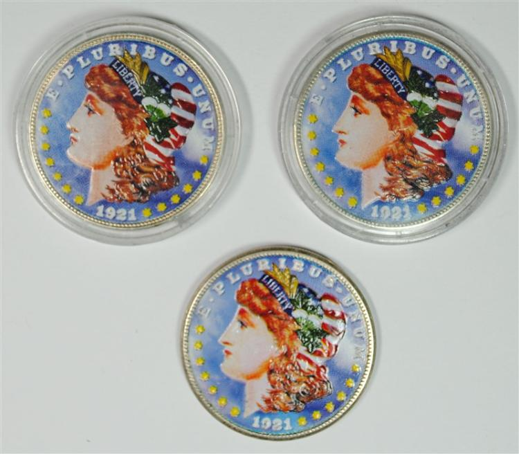 3 - 1921 COLORIZED / PAINTED MORGAN SILVER DOLLARS