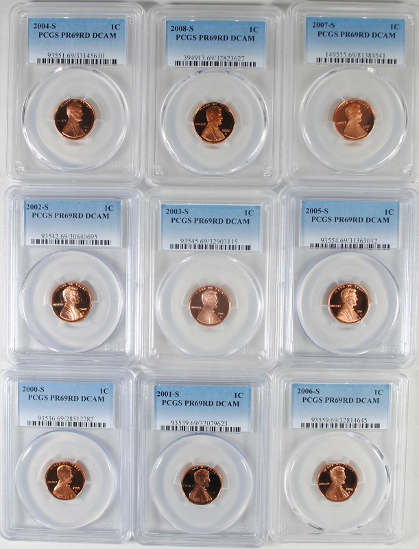 ( 9 ) PCGS GRADED PR-69 RED DCAM LINCOLN CENTS: 2000-S THRU 2008-S
