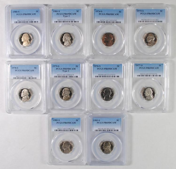 1974-S THRU 1983-S JEFFERSON NICKELS, PCGS PR-69 DCAM ( 10 ) COINS