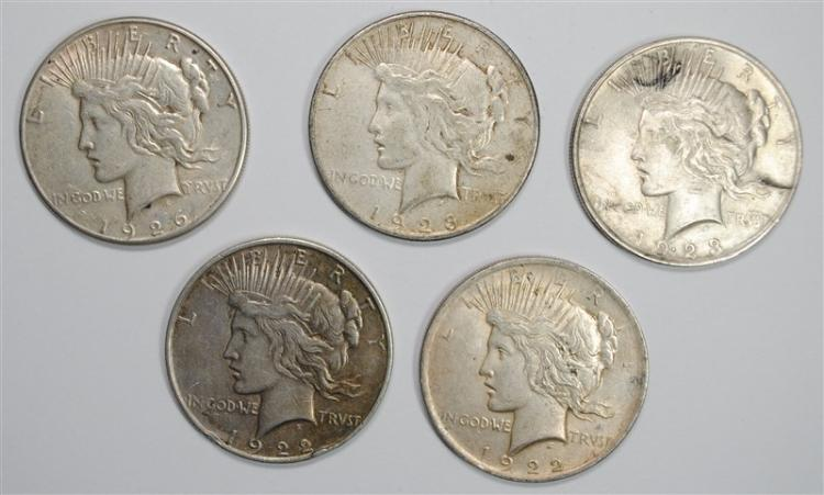 ( 5 ) CIRCULATED PEACE SILVER DOLLARS: 1922, 1922-D, 1923, 1923-S & 1926-S