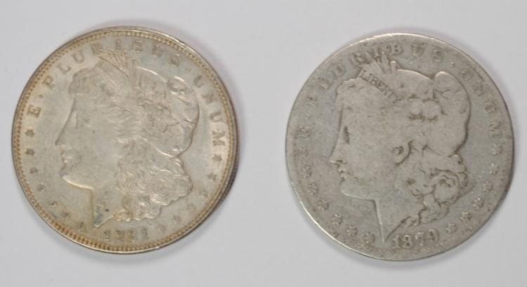 2 - MORGAN DOLLARS; 1879-O VG & 1921 AU