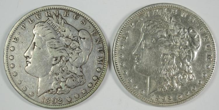( 2 ) 1892 MORAN SILVER DOLLARS,: 1-VF/XF & 1-F/VF