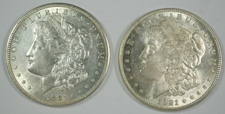 ( 2 ) 1921-D MORGAN SILVER DOLLARS, AU/UNC