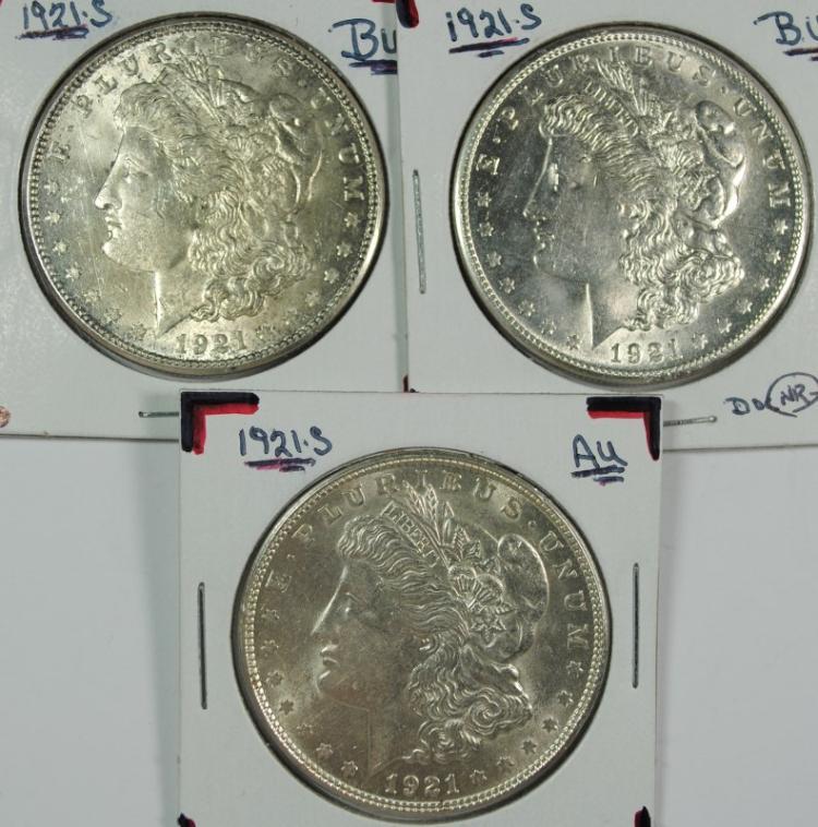 ( 3 ) 1921-S MORGAN SILVER DOLLARS, AU/UNC