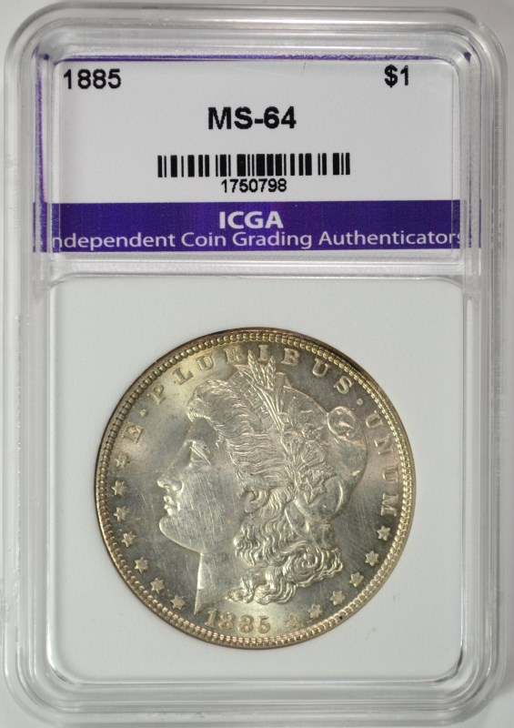 1885 MORGAN SILVER DOLLAR ICGA CHOICE / GEM BU