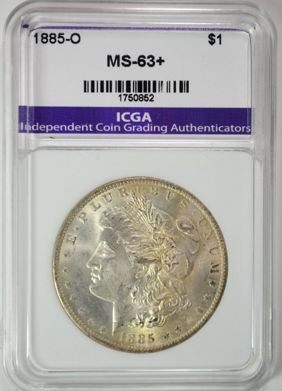 1885-O MORGAN SILVER DOLLAR ICGA CHOICE BU+