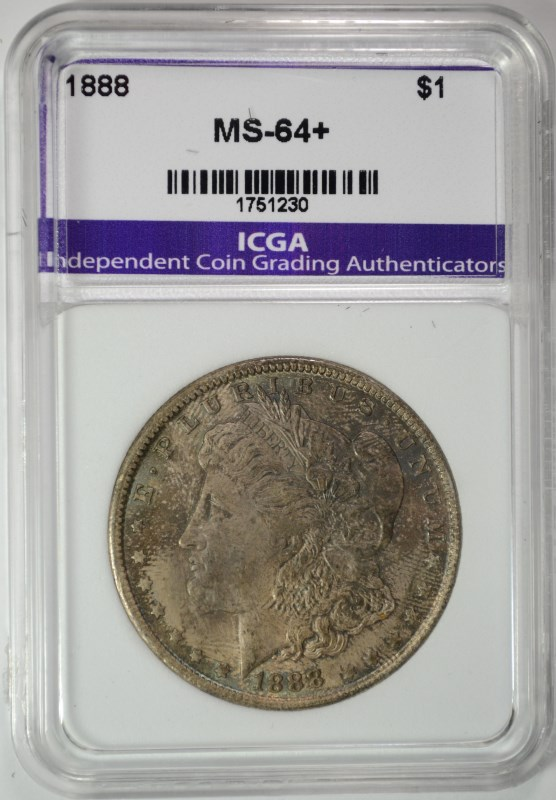1888 MORGAN SILVER DOLLAR ICGA CHOICE / GEM BU+  NICELY TONED