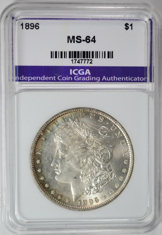 1896 MORGAN SILVER DOLLAR ICGA CHOICE / GEM BU