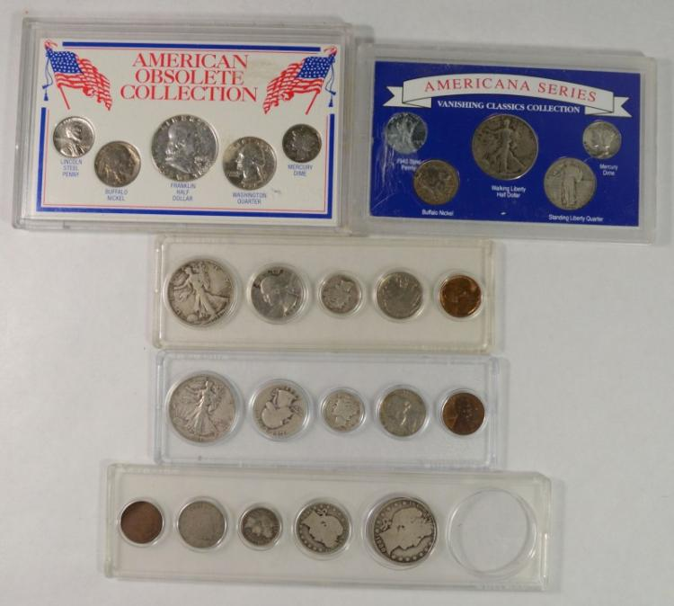 5 - UNITED STATES COINS 5pc SETS with SILVER 50c, 25c, 10c and MORE -