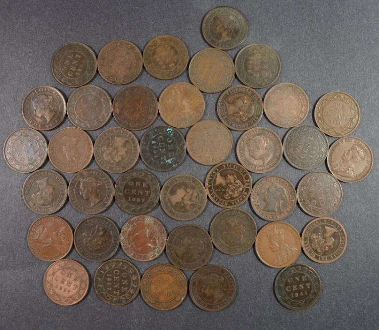 ( 40 ) CANADIAN LARGE CENTS VF-AU