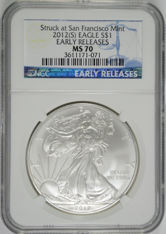 2012 (S) AMERICAN SILVER EAGLE, NGC MS-70 EARLY RELEASES