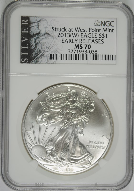 2013 (W) AMERICAN SILVER EAGLE, NGC MS-70 EARLY RELEASES