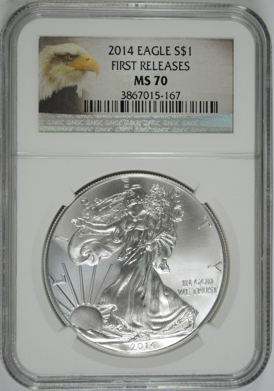 2014 AMERICAN SILVER EAGLE, NGC MS-70 FIRST RELEASES