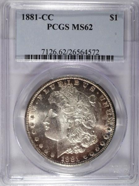 1881CC Morgan $ PCGS62 est $450-$460