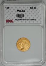 1911 $2.50 GOLD INDIAN RNG GEM BU