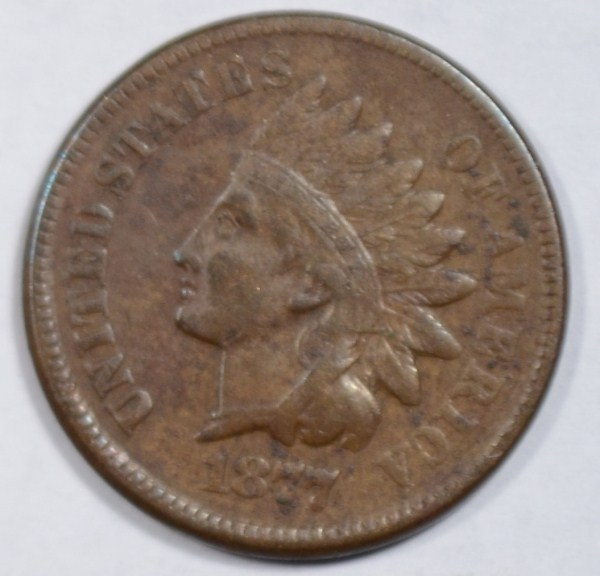 1877 Indian penny VF/XF nice color