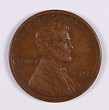 1911-S LINCOLN CENT, XF+ NICE