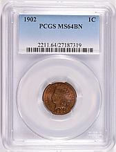 1902 INDIAN CENT PCGS MS-64 BN  LOOKS RED BROWN