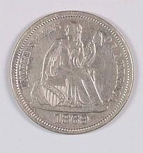1869-S SEATED DIME XF-45