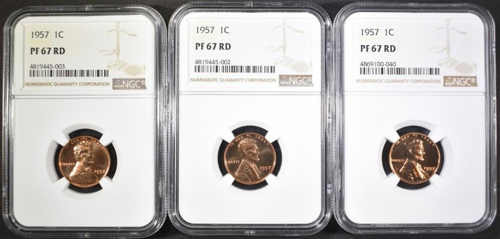 (3) 1957 LINCOLN CENTS NGC PF-67 RD